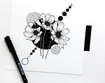 Cosmos Flowers Geometric Floral Art, Cosmic Botanical Illustration, Space Giclee Fine Art Print, Black and White Home Decor, Square Artwork
