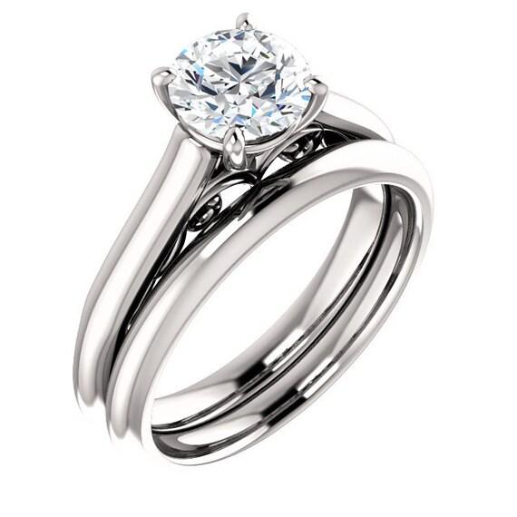 1 Ctw Halo Engagement Ring Set Swarovski Cubic Zirconia