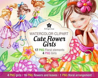Flower Girls WATERCOLOR clip art + 16 PNG flower elements, ready to use bouquet arrangement, 1 paper texture 12x12 inches. Read about usage