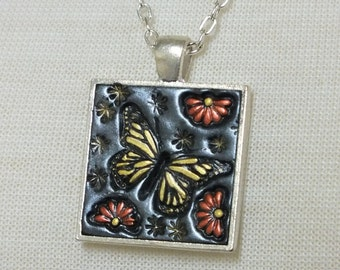 Yellow Monarch Butterfly and Orange Daisy Flowers, Pendant Necklace Polymer Clay Jewelry, Boho Hippie Jewelry