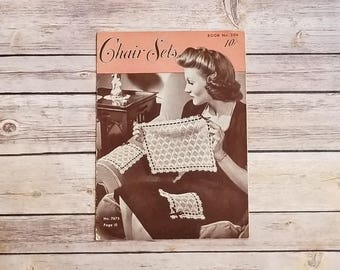 Chair Sets Spool Cotton Company 1944 Crocheting Chair Set Knitting Patterns 1940s Hand Crafts Dainty Designs Antique Home Design Book Ladies
