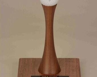 Golf Trophy one ball Walnut display
