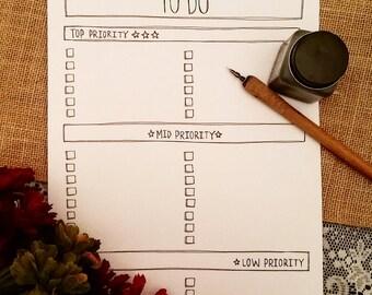 To Do List Printable - Printable Priority List - To Do List by Priority - High Priority to Low Priority To Do List - Printable Lists - To Do