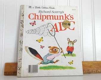 Chipmunk's ABC Little Golden Book 1963, Catching Butterflies, Hardback Children's Book, Richard Scarry