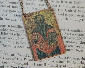 Saint Haralambos necklace Patron Saint of Bees and Beekeepers Saint jewelry Mixed Media Jewelry