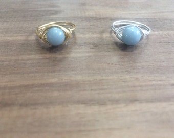 Angelite Ring // Tumbled Angelite // Angelite Stone // Dainty Ring