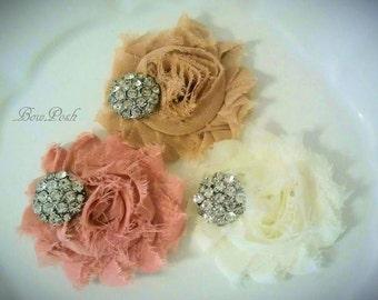 3 flower clips, flower girl clips, shabby hair clips, flower hair clips, rhinestone flower clips, set of flower clips, clip for flower girl