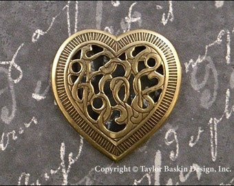 Victorian Filigee Heart in Antiqued Polished Brass (item 317 AG) - 6 Pieces
