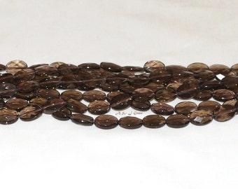 "Smoky Quartz 10x14mm Flat Oval Faceted Gemstone Beads - 15.75"" Strand"