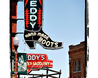 """10 x 13 Print Special Neon Cowboy Boot Sign Americana Art Print """"Leddy Hand Made Boots"""""""