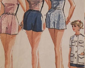 Vintage McCalls 6779 Sewing Pattern Size 10 Bathing Suit and Beach Jacket