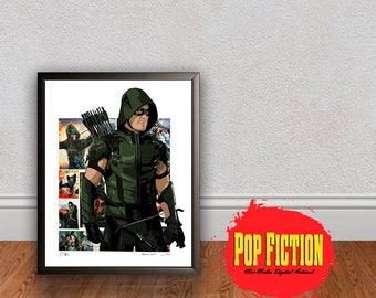 DC Green Arrow Print or Original Canvas Original Artwork. Comics, Book, Collectible. Digital Mix-Media Art. Pop Culture.