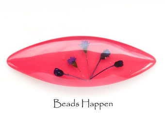 75mm x 25mm Rose Pink Lucite Navette with Embedded Flowers, 3 inches x 1 inch, Pink Rose Navette, Quantity 1
