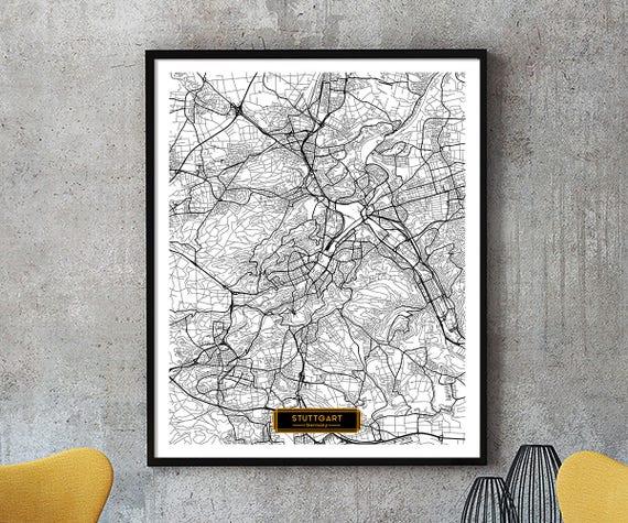 STUTTGART Germany CANVAS Large Art City Map Stuttgart Germany