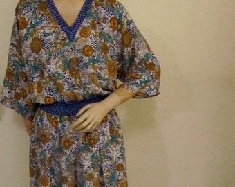 ON SALE 20% OFF 80's  Diane Freis Kimona Inspired Poly Print Dress