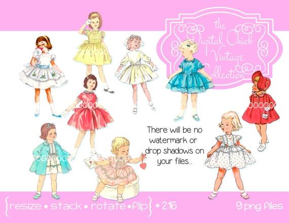 Clip Art for Little Girls Party Dresses