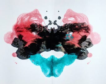 Tricolor rorschach ink blot original painting in Resin and dye