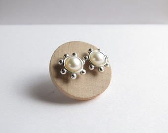 Floral Cup Studs in Sterling Silver and Freshwater pearl. Silver floral studs. Small pearl stud earrings.