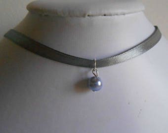 Adult/child gray satin ribbon and lavender pendant wedding necklace