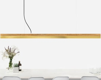 Pendant light long [C3o]brass oak wood lamp