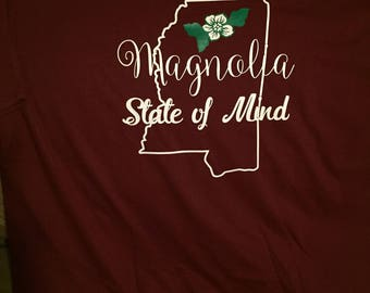 Magnolia State of Mind Tee, Ladies tee, Novelty Tees, Southern Sayings Tee