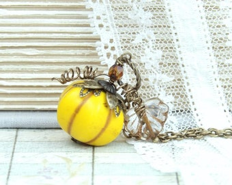 Pumpkin Necklace Halloween Necklace Fall Jewelry Autumn Necklace Pumpkin Jewelry Thanksgiving Necklace