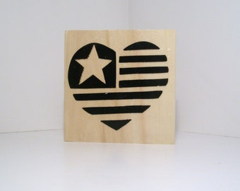 Large USA HEART FLAG Rubber Stamp