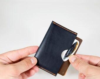 Minimalistic Wallet, Leather Minimalistic Wallet, Navy Minimal Wallet, Horween Chromexcel Minimal Wallet