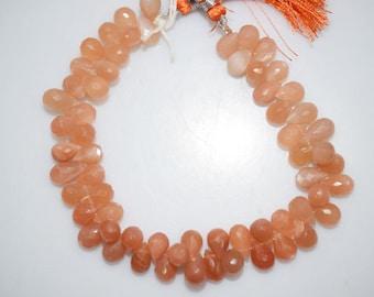 "Peach Moonstone Faceted Tear Drop Briolette , 8"" Strand - Peach Moonstone Faceted Tear Drop Beads , 6x9 - 6x10 mm , BL400"