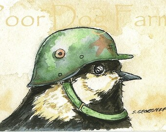 ACEO signed PRINT - Birds in Helmets n0. 4
