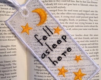 FSL BookMark Fell Asleep Here-  Book Lovers Gift - FSL - Embroidery Design - Multiple Formats