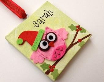 Personalized felt owl Christmas ornament