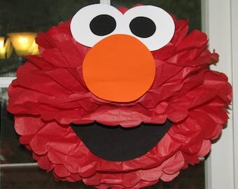 """Red Monster tissue paper pompom kit, inspired by """"Elmo"""" from Sesame Street"""