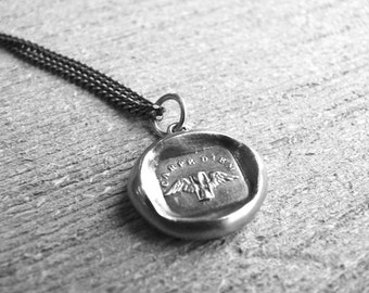 Wax Seal Jewelry CARPE DIEM, Seize the Day, Time Flies Talisman, Antique Wax Seal MENS Necklace, Jewellery, Inspirational Charm