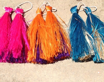 Authentic Hau Or Fau I'is. Tahitian & Cook Islands Hand Tassels Or I'is. Mix Two Colors Pair Of 'I'is.CHOOSE ANY 2 Colors Only!! Tip To Tip.