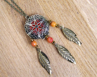 Orange agate pendant necklace, Gemstone dream catcher locket, Essential oil diffuser, Mineral rock aromatherapy, May birthstone, Gem stone