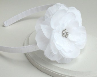 White Flower Headband, Flower Girl Headband, White Rhinestone Flower on Hard Headband, First Communion, Headband for Girls