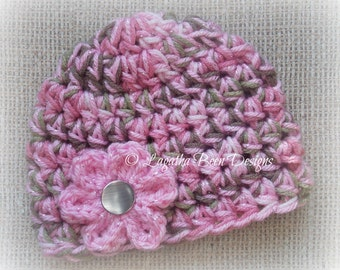 Chunky pink camo baby hat - photo prop - camo baby girl hat - camo baby hat - camo photo prop - baby shower gift -  made to order