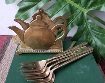 Vintage brass forks | Seafood fork | Gold flatware | Bohemian home decor | Mid century decor | Hollywood Regency | Glam |