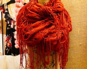 Vanity burnt orange infinity scarf