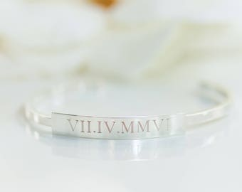Roman Numeral Bracelet | Bridesmaid Gifts | Custom Cuff | Cuff Bracelets | Bridesmaid Jewelry | Custom Name Bracelet | Engraved Cuffs