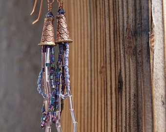 Copper Cone and Seed Bead Earrings