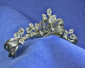 Sterling Silver and Swarovski Crystal Bridal Tiara created with Vintage Jewelry