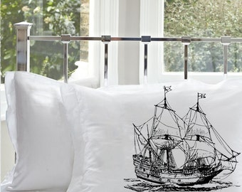 Two for 20 Clipper Ship pillowcase Black Nautical Sail Boat sailing sailor room decor high seas sailboat pirate Standard pillow case cover