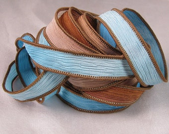 Hand Dyed Silk Ribbon - Hand Painted Crinkle Silk  - Quintess - Earth and Sky