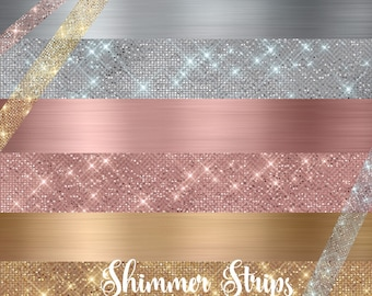 Shimmer Strips Clipart - Rose Gold, Gold and Silver Diamond and Brushed Metal Borders, glitter glam sparkle png graphics and textures