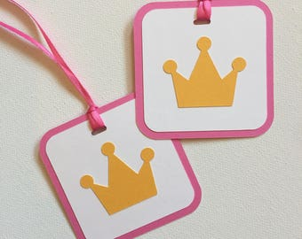 Princess Crown Tag  - Princess Birthday Tags - Princess and the Frog Party - Princess Favor Tags - Pink and Gold Party - Princess Party Tag