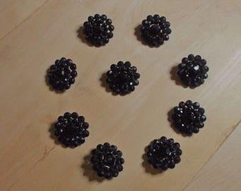 Antique Black Glass Lace Button set