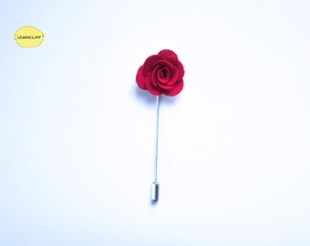 Red Floral Pin, Men Suit Lapel, Ribbon Pin, Flower Lapel, Floral Pin, Wedding Floral Ribbon