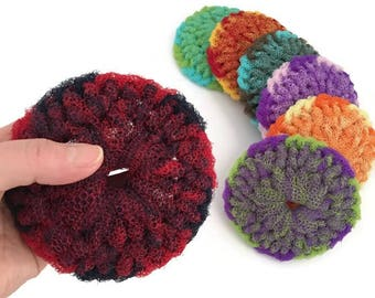 Large Dish Scrubbies, Swirls, Choose Your Colors and 2 Through 7 Crocheted Scrubbies, Double Layered, Housewarming - Gift For Him or Her